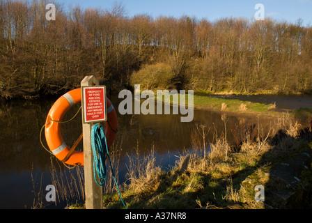 The River Till at Etal Northumberland lifesaver beside deep salmon pool - Stock Photo