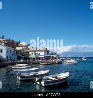 Kassiopi Harbour, North East Coast, Corfu (Kerkyra), Ionian Islands, Greece - Stock Photo