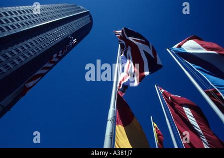 Frankfurt Messeturm trade fair tower jutting into sky - Stock Photo