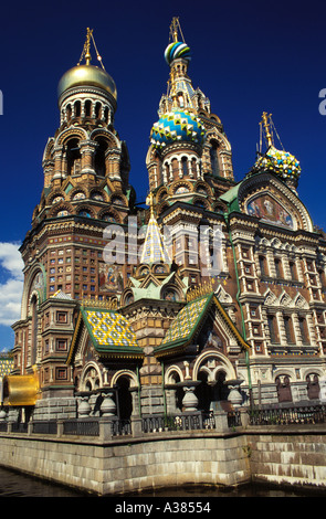 Russia St Petersburg Church on Spilled Blood aka Church of the Resurrection on the bank of the Griboedova Canal - Stock Photo