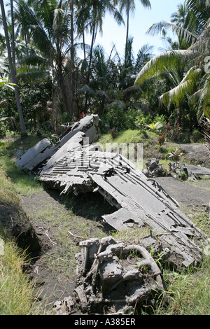 Wreck of a WWII Japanese bomber Matupit, East New Britain, Papua New Guinea - Stock Photo