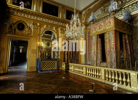 Kings Bedchamber, Chambre du Roi, Palace of Versailles, city of Versailles, Ile-de-France, France, Europe - Stock Photo
