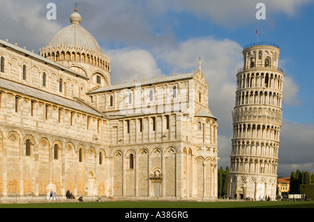 A view of the Cathedral and leaning tower within the area known as Piazza dei Miracoli or Piazza del Duomo in Pisa, - Stock Photo