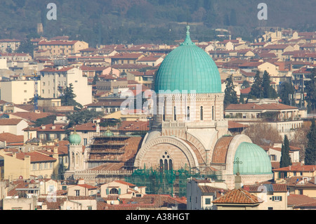 A compressed perspective view of The Great Synagogue or Tempio Maggiore in Florence. - Stock Photo