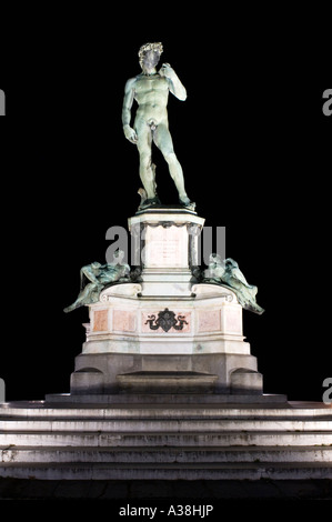 A night view of Michelangelo's statue of David that stands in the middle of the Piazzale Michelangelo overlooking - Stock Photo
