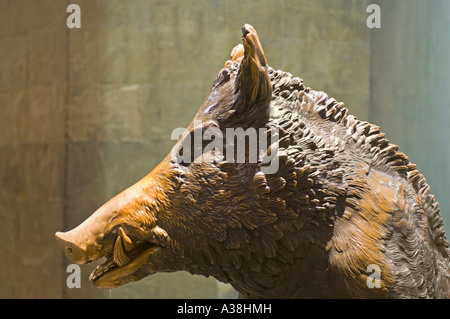 A view of  'Il Porcellino' a large bronze statue of a wild boar, on the south side of Mercato Nuovo 'New Market'. - Stock Photo