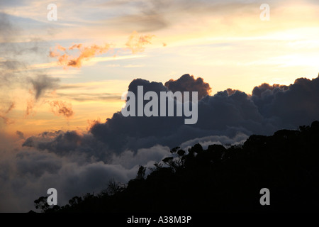 Sunset from Laban Rata on Mt Kinabalu, at 4095m the highest in SE Asia. Sabah, Borneo, Malaysia - Stock Photo