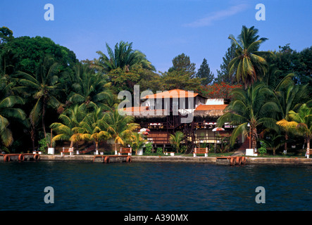 Marimonte Hotel along the Rio Dulce in the town of El Relleno in Izabal Department Guatemala - Stock Photo