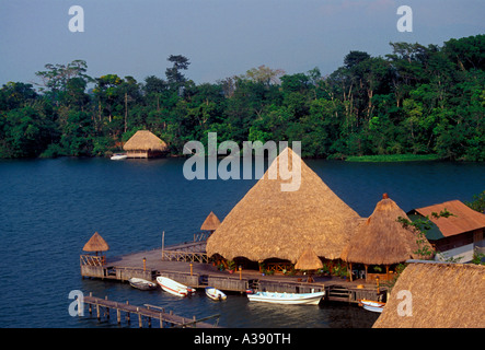 Restaurant along Rio Dulce Dulce River El Relleno Izabal Department Guatemala Central America - Stock Photo