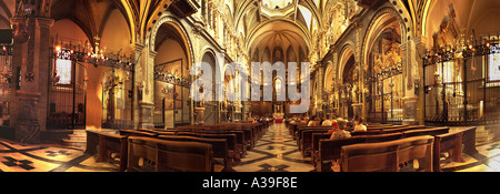 Cathedral Montserrat Mountain Basilica,  church interior Architecture Interior with  people Praying in Church