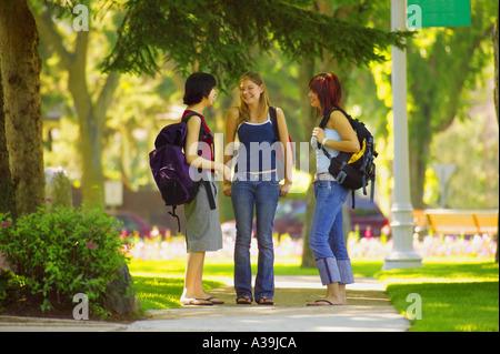 Group of girls talking - Stock Photo