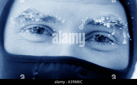 Frost on eyebrows - Stock Photo