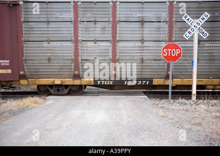Union Pacific railway between Alpine and Marathon in west Texas - Stock Photo