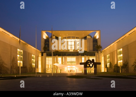 Berlin chancellor office at twilight - Stock Photo
