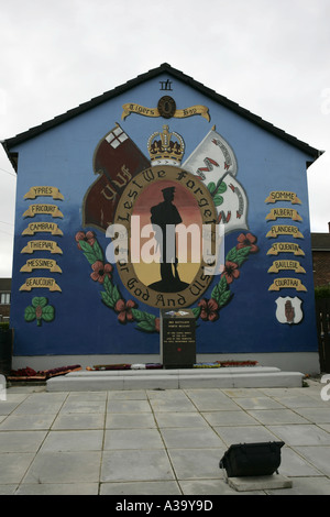 36th ulster division UVF loyalist wall mural and remembrance garden tigers bay belfast county antrim northern ireland - Stock Photo