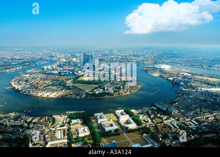 Isle of dogs Canary Wharf Millenium Dome and Greenwich - Stock Photo