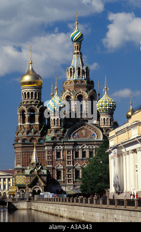 Russia St Petersburg Church on Spilled Blood aka Church of the Resurrection Griboedova Canal embankment - Stock Photo