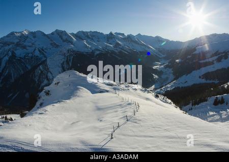 sunset over mountains Mayrhofen Zillertal Valley Austrian Tyrol Austria - Stock Photo