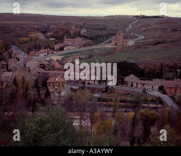 View over the Segovian countryside from the Alcazar, Spain - Stock Photo