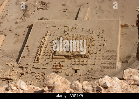 Destroyed Temple of Mentuhotep II near Queen Hatshepsut temple, West bank of Nile, Luxor, Egypt - Stock Photo