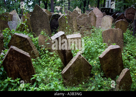 CZECH REPUBLIC Czechia Bohemia Prague Densely packed gravestones in overgrown Old Jewish Cemetery. - Stock Photo