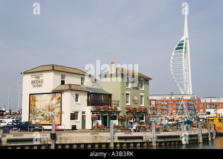 ENGLAND Hampshire Portsmouth Camber in Old Portsmouth showing the Spinnaker Tower behind the Bridge Tavern - Stock Photo