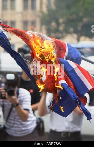 North Korean Flag Burning, Seoul - Stock Photo