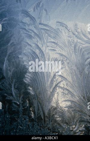 Frost patterns on window pane Sitka Alaska Southeast Winter - Stock Photo