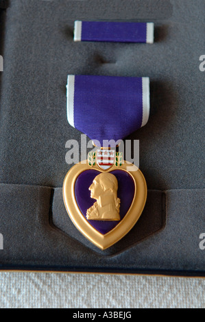 United States Purple Heart Medal awarded to those injured or killed in combat - Stock Photo
