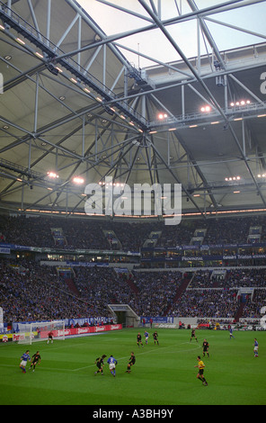 Schalke 04 football club playing a Bundesliga match against Werder Bremen, Gelsenkirchen, Germany. - Stock Photo
