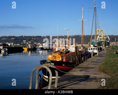 PORTH PENRHYN GWYNEDD NORTH WALES UK January Some of the fishing boats moored in the Port - Stock Photo