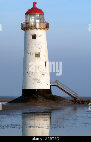 Talacre point of ayr Mostyn bank beacon channel lighthouse River Dee estuary Flint Flintshire North Wales Welsh - Stock Photo