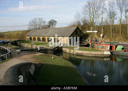 Bulbourne Dry Dock at the Junction of the Grand Union Canal and Wendover Arm at Bulbourne, Near Tring Reservoirs, - Stock Photo