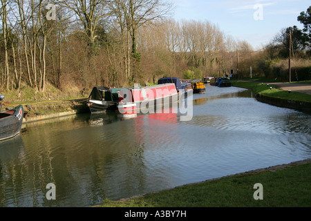 Junction of Grand Union Canal and Wendover Arm at Bulbourne, Near Tring Reservoirs, Hertfordshire - Stock Photo