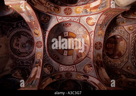 Ancient paintings in the Goreme open air museum, Cappadocia, Turkey - Stock Photo