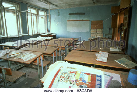 Prypiat abandoned town near Chernobyl Ukraine 28 4 00 Remains of school in exlusion zone - Stock Photo