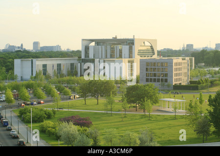 view accross the Spreebogenpark onto the German Chancellery and the swiss embassy, Germany, Berlin - Stock Photo