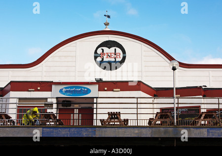 Painting the Pier at Cleethorpes Lincolnshire UK - Stock Photo