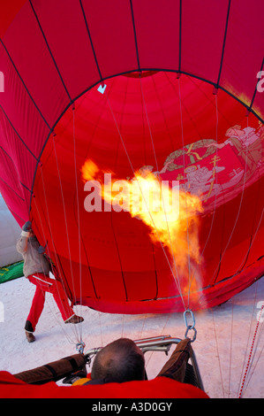 Inflating a Balloon at the Chateau d'Oex balloon festival, Switzerland