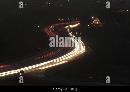 Light trails on the A27 Shoreham flyover / interchange - Shoreham by Sea, West Sussex, UK. - Stock Photo