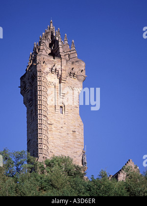 The National Wallace Monument a sandstone tower standing on the summit of Abbey Craig commemorating William Wallace - Stock Photo