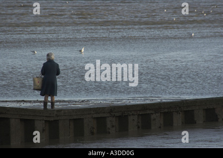 An elderly lady stands looking out to sea. - Stock Photo