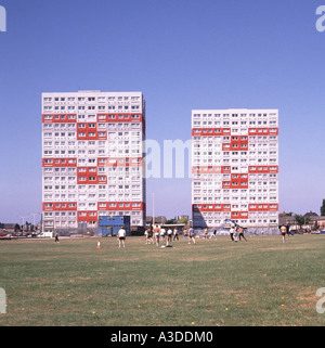 High rise blocks of flats and playing fields - Stock Photo