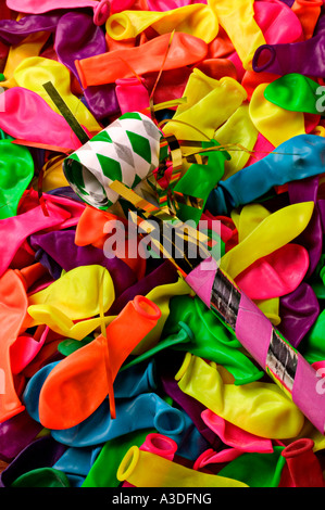 party toy and colorful balloons - Stock Photo