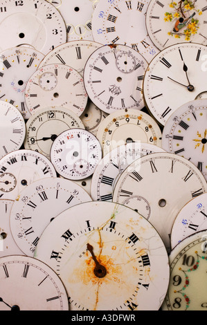 A pile of old watch faces - Stock Photo