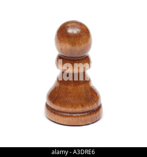 Wooden Chess piece pawn on white background - Stock Photo