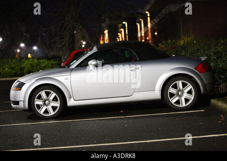 audi, tt, convertible roadster softtop silver, front, 3, 4, silver, 2003, model night dusk - Stock Photo