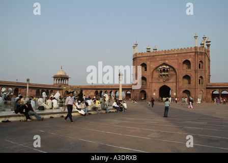Entrance and courtyard in the Jami Masjid Mosque in Delhi India - Stock Photo