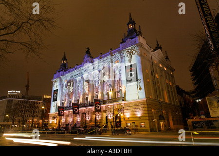 Theater des Westen - illuminated front of the theater with artistic projection regarding the program dance of the - Stock Photo