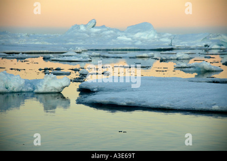 Evening red mirrors in the water with ice-pack and icebergs Eastgreenland - Stock Photo